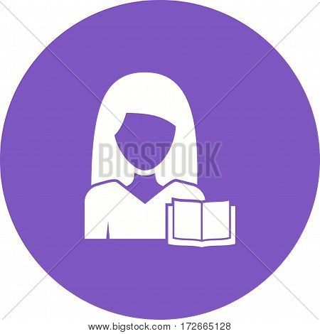 Reading, book, woman icon vector image. Can also be used for women. Suitable for mobile apps, web apps and print media.