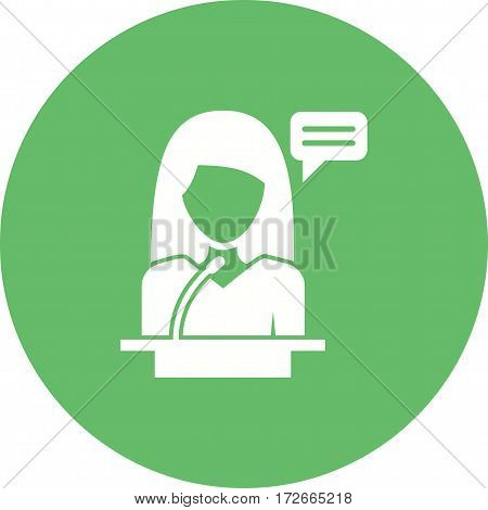 Woman, conference, speaker icon vector image. Can also be used for women. Suitable for mobile apps, web apps and print media.
