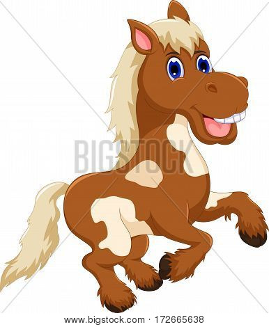 funny horse cartoon jumping for you design