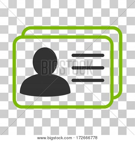 Account Cards icon. Vector illustration style is flat iconic bicolor symbol eco green and gray colors transparent background. Designed for web and software interfaces.