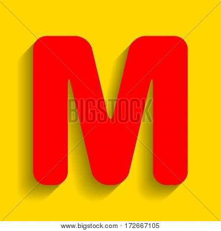 Letter M sign design template element. Vector. Red icon with soft shadow on golden background.