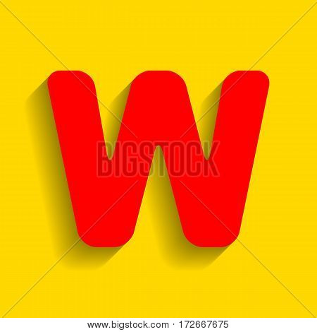 Letter W sign design template element. Vector. Red icon with soft shadow on golden background.