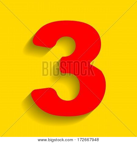 Number 3 sign design template element. Vector. Red icon with soft shadow on golden background.