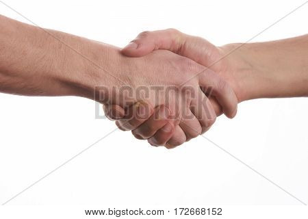 Closeup image of a Business handshake. Business handshake and business people concept. Two men shaking hands over isolated white background. Partnership Deal.