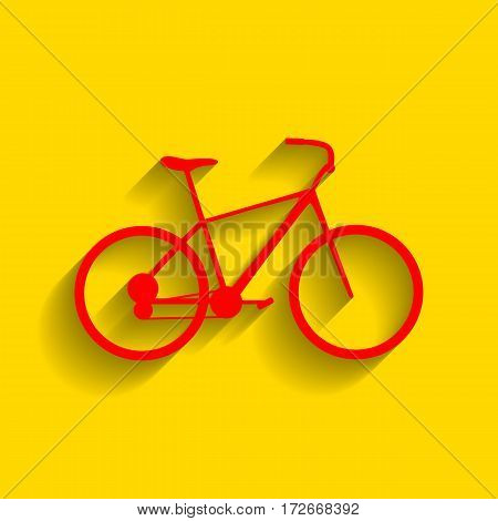 Bicycle, Bike sign. Vector. Red icon with soft shadow on golden background.