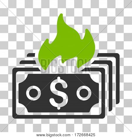 Burn Banknotes icon. Vector illustration style is flat iconic bicolor symbol eco green and gray colors transparent background. Designed for web and software interfaces.