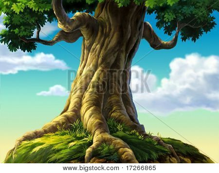 Tree with Roots on Grass