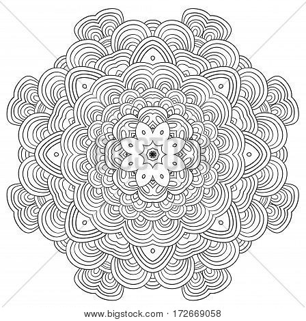 Uncolored vector circle tracery. Can be used as adult coloring book, coloring page. Mandala.