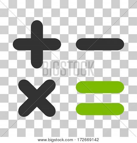 Calculator icon. Vector illustration style is flat iconic bicolor symbol eco green and gray colors transparent background. Designed for web and software interfaces.
