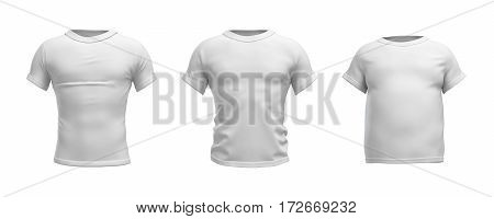 3d rendering of a white T-shirt in realistic slim, muscular and fat shape in front view on white background. Closes and apparel. Sales and promotions. Getting fit.