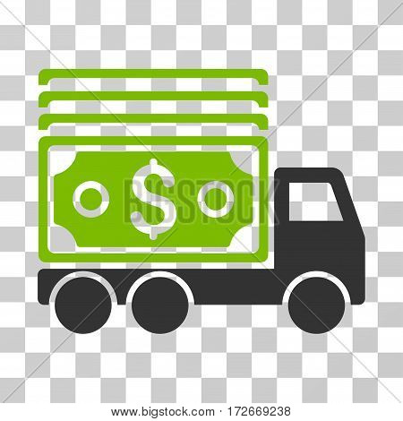 Cash Lorry icon. Vector illustration style is flat iconic bicolor symbol eco green and gray colors transparent background. Designed for web and software interfaces.