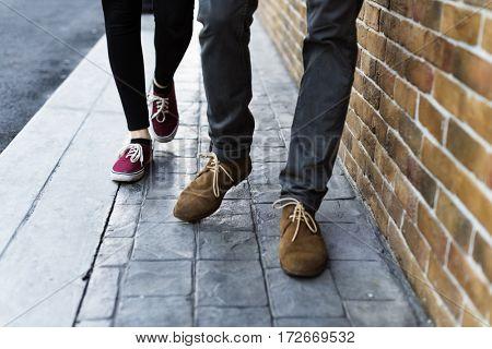 Man Woman Togetherness Street