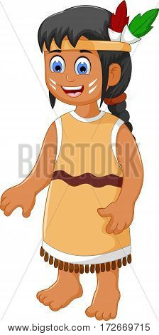 cute woman indian tribal cartoon for you design
