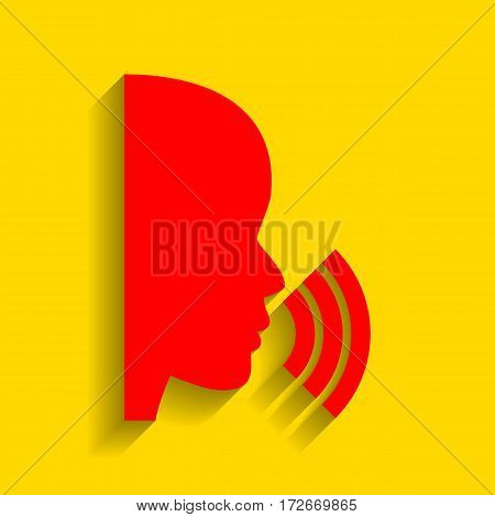 People speaking or singing sign. Vector. Red icon with soft shadow on golden background.