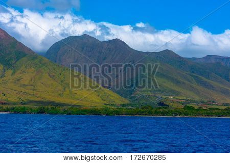 Green hills on the island of Maui Hawaii roll down to the deep blue Pacific Ocean