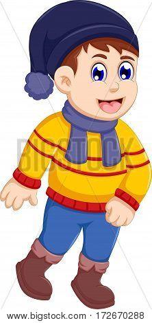 funny little boy cartoon wearing winter clothes