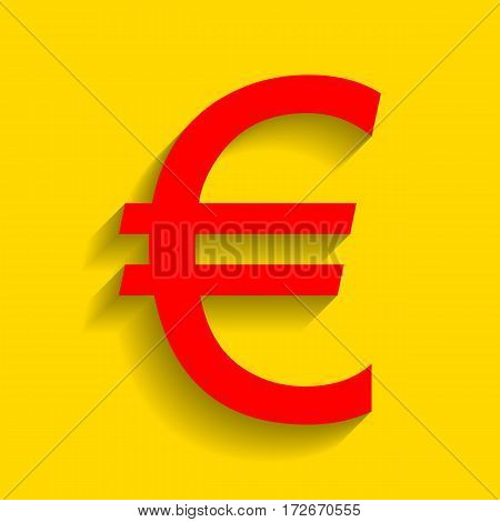 Euro sign. Vector. Red icon with soft shadow on golden background.