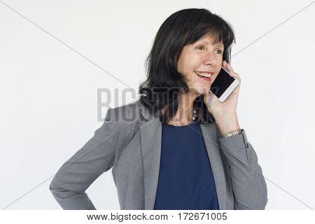 Businesswoman Smiling Happiness Mobile Phone Talking Portrait Concept