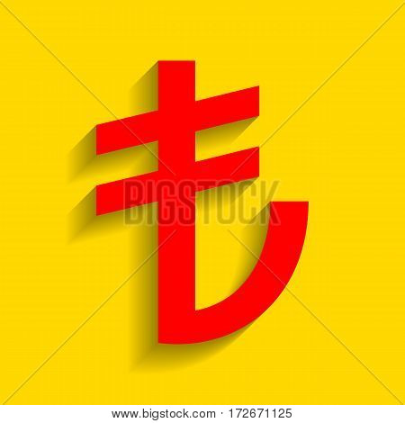 Turkiey Lira sign. Vector. Red icon with soft shadow on golden background.