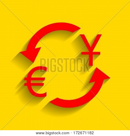 Currency exchange sign. Dollar and Euro. Vector. Red icon with soft shadow on golden background.