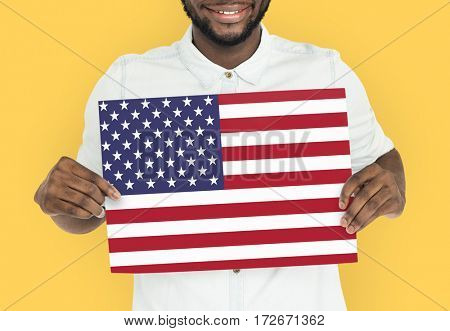 Man Hands Hold American Flag Patriotism