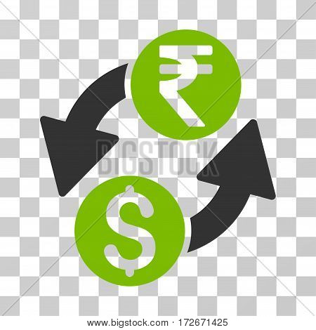 Dollar Rupee Exchange icon. Vector illustration style is flat iconic bicolor symbol eco green and gray colors transparent background. Designed for web and software interfaces.