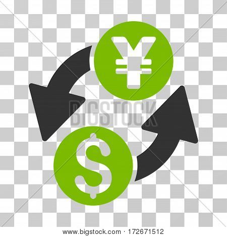 Dollar Yen Exchange icon. Vector illustration style is flat iconic bicolor symbol eco green and gray colors transparent background. Designed for web and software interfaces.