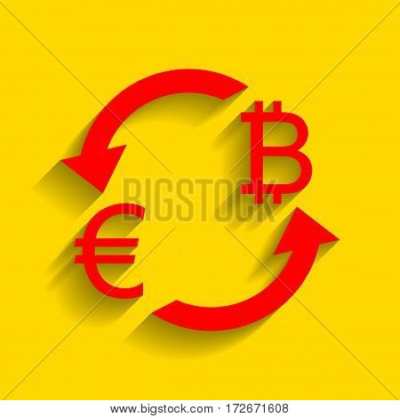 Currency exchange sign. Euro and Bitkoin. Vector. Red icon with soft shadow on golden background.