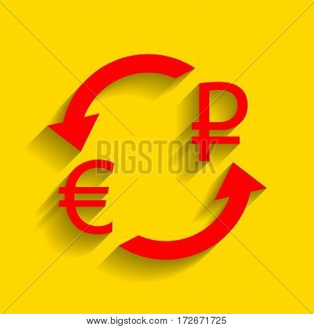 Currency exchange sign. Euro and Russia Rouble. Vector. Red icon with soft shadow on golden background.