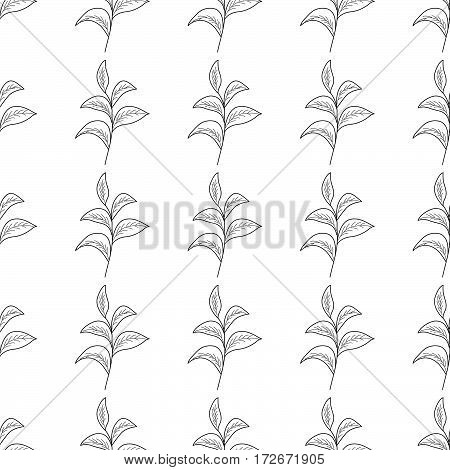 Green tea leaf illustration branch organic hand drawing sketch vertical seamless pattern