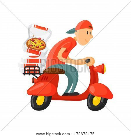 Italian cook pizza delivery boy vector illustration. Pizzeria cartoon courier on motorbike. Deliver dinner icon food box. Fast party meal scooter transport symbols.