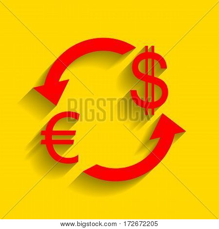 Currency exchange sign. Euro and US Dollar. Vector. Red icon with soft shadow on golden background.