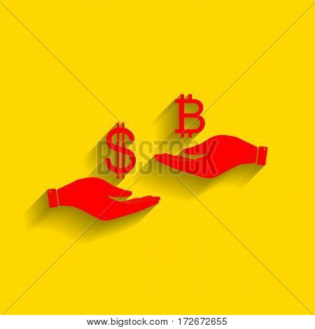 Currency exchange from hand to hand. Dollar and Bitcoin. Vector. Red icon with soft shadow on golden background.