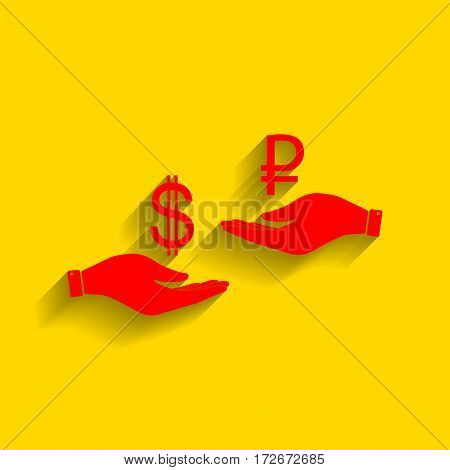 Currency exchange from hand to hand. Dollar and Rouble. Vector. Red icon with soft shadow on golden background.