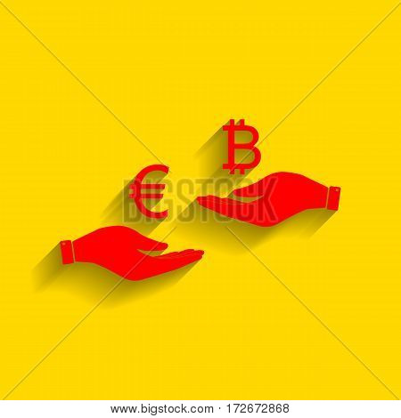 Currency exchange from hand to hand. Euro an Bitcoin. Vector. Red icon with soft shadow on golden background.