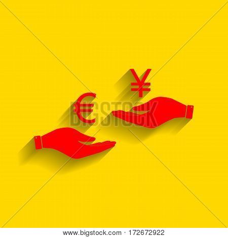 Currency exchange from hand to hand. Euro and Yen. Vector. Red icon with soft shadow on golden background.