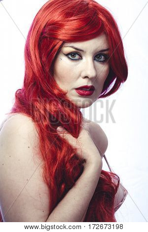 Glamour, Beautiful Spanish woman in lace dress and great red hair, romantic or medieval style