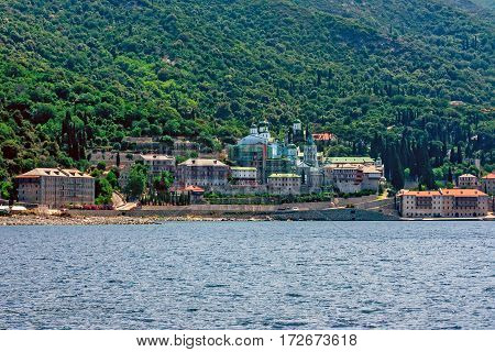 Russian St. Pantaleon Orthodox monastery known as Rossikon at Mount Athos, Agion Oros or Holy Mountain, Chalkidiki, Greece.
