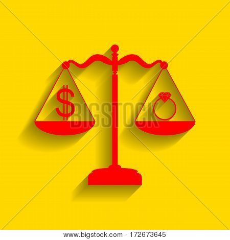 Ring jewelery and dollar symbol on scales. Vector. Red icon with soft shadow on golden background.