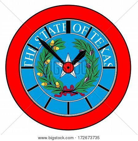 A typical clock face without numbers and the Texan State Seal background