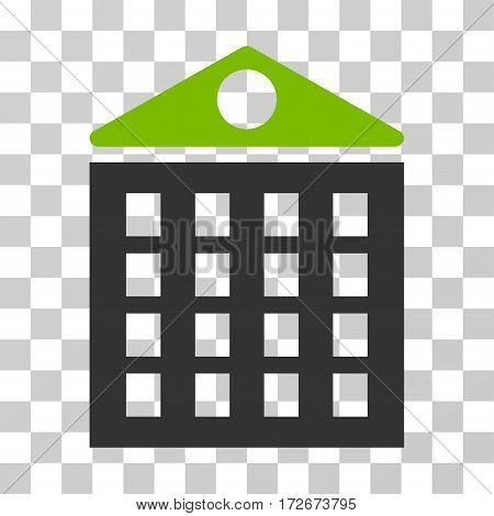 Multi-Storey House icon. Vector illustration style is flat iconic bicolor symbol eco green and gray colors transparent background. Designed for web and software interfaces.