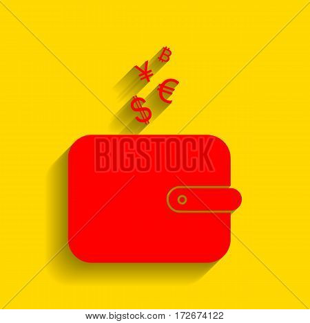 Wallet sign with currency symbols. Vector. Red icon with soft shadow on golden background.