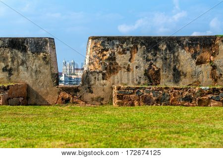 Beautiful scenery of cathedral seen from walls of ancient Dutch Galle Fort known as one of UNESCO World Heritage Site in Sri Lanka