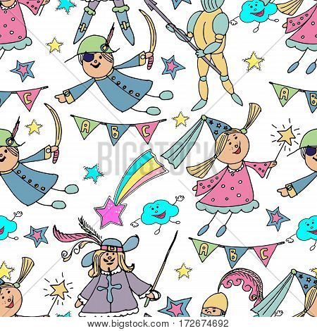 Vector hand drawn cute seamless background. Kids in carnival costumes. Fairy a knight pirate musketeer. Children's party. Birthday celebration. Colorful pattern.