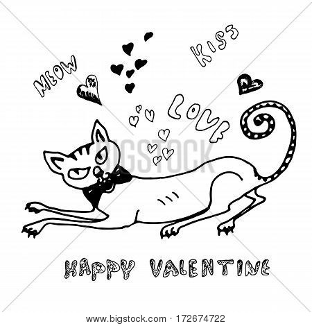 Hand drawn cute pussycat. Happy Valentine card. Sketch.