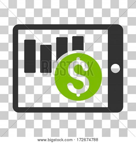 Sales Chart On PDA icon. Vector illustration style is flat iconic bicolor symbol eco green and gray colors transparent background. Designed for web and software interfaces.