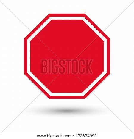 blank stop sign with shadow. Vector illustration