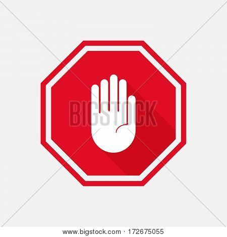 hand stop sign with long shadow. Vector illustration
