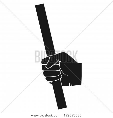 Image of hand with piece of pipe or stick. grey tones illustration of hand with piece of pipe or stick.