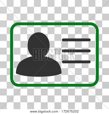 Account Card icon. Vector illustration style is flat iconic bicolor symbol green and gray colors transparent background. Designed for web and software interfaces.